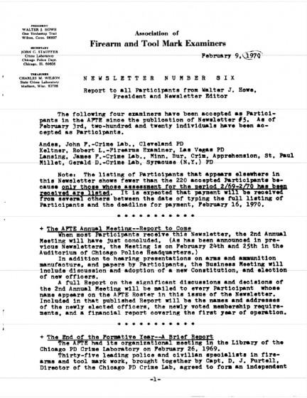 AFTE Newsletter Number 06 (1970)